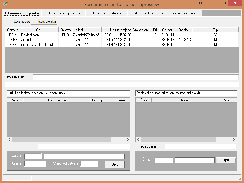 Apross modul Prodaja - Formiranje cjenika