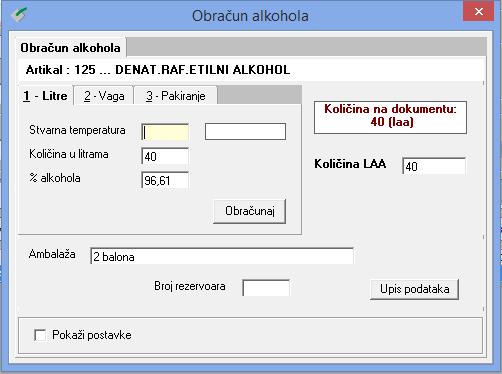 Obračun alkohola u litrama u sustavu Alcosoft za industrije alkoholnih pića