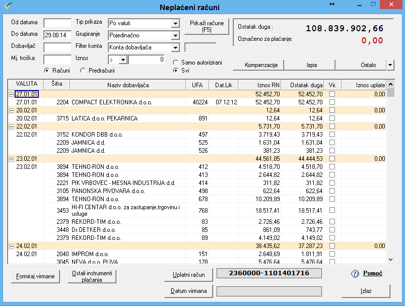 Apross modul Financije - Neplaćeni računi