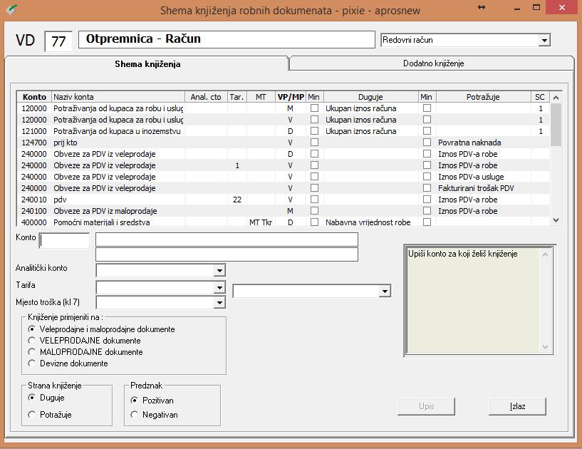 Apross modul Računovodstvo - Shema knjiženja robnih dokumenata