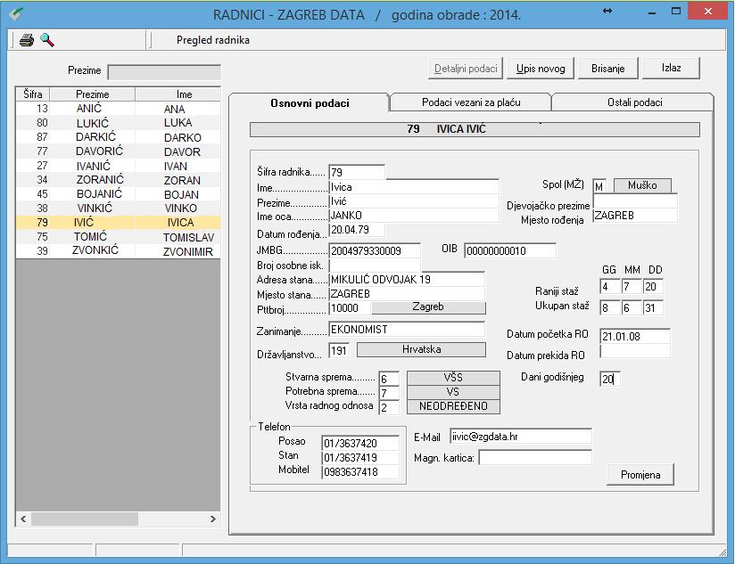 Apross modul Ljudski resursi - Osnovni podaci o radniku