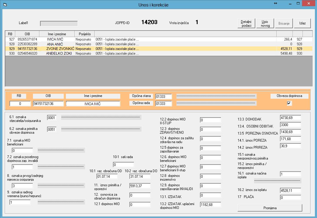 Apross modul Ljudski resursi - Unos i korekcije podataka o radnicima