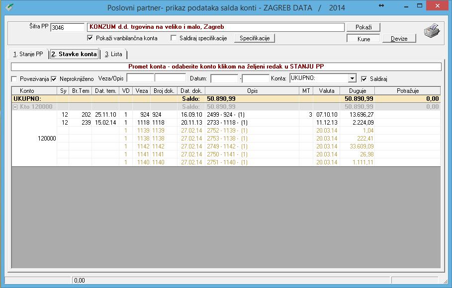 Apross modul Prodaja - Prikaz podataka salda konta