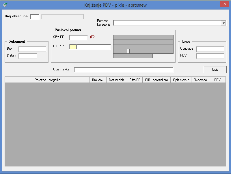 Apross modul Porezi - Knjiženje PDV-a