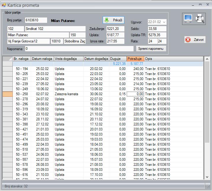 Kartica kreditnog prometa u sustavu za praćenje kredita u prodaji - Credit soft