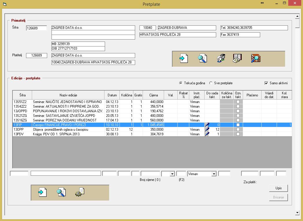 Popis pretplata - PEKS Soft sustav