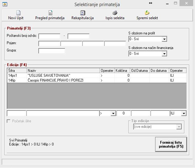 Odabir primatelja (pretplatnika) - PEKS Soft sustav